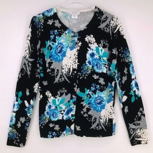 Kate Hill Floral Print Cardigan Size Large